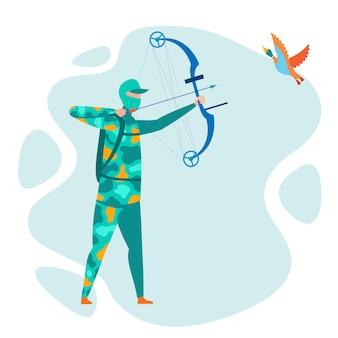 Bow hunting hobby, vrije tijd illustratie