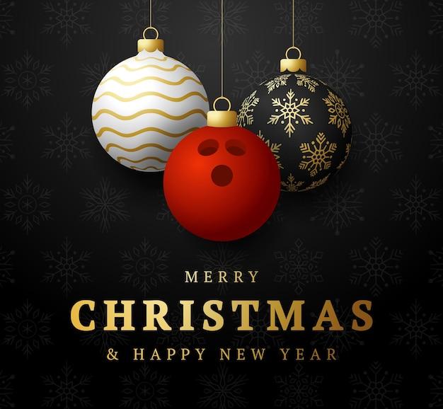 Bowlen prettige kerstdagen en gelukkig nieuwjaar luxe sport wenskaart. bowlingbal als een kerstbal op de achtergrond. vector illustratie.