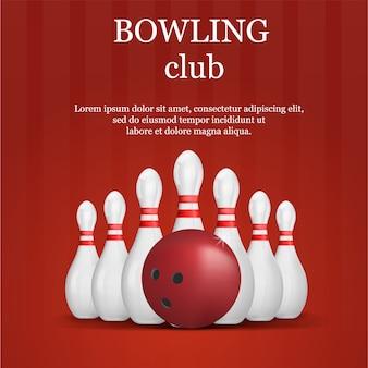 Bowling club concept, realistische stijl