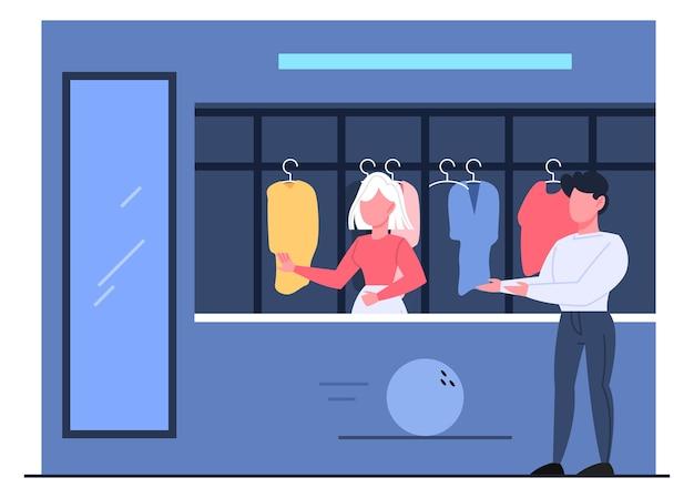 Bowling club interieur, bezoeker in garderobe. bowling club garderobe.