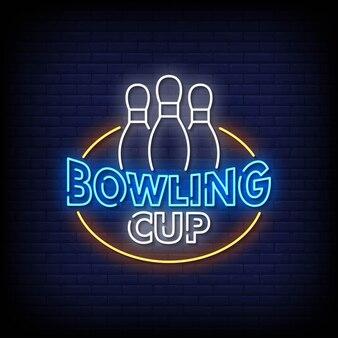 Bowling cup neonreclames stijl tekst vector