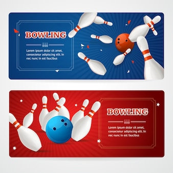 Bowling gekleurde horizontale banner kaartenset.