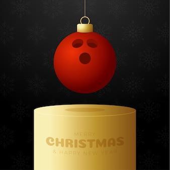 Bowling kerstbal sokkel. merry christmas sport wenskaart. hang op een draad bowlingbal als een kerstbal op gouden podium op zwarte achtergrond. sport vectorillustratie.