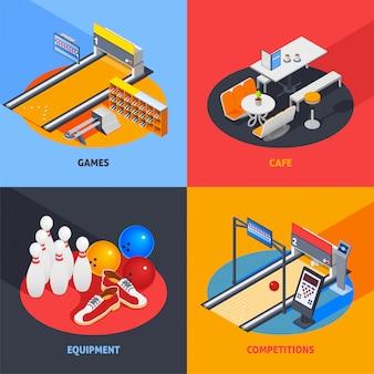 Bowling kleurrijke isometrische composities