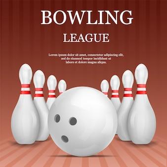 Bowling league concept, realistische stijl