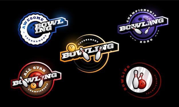 Bowling logo set.