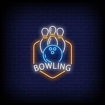 Bowling neonreclames stijl tekst