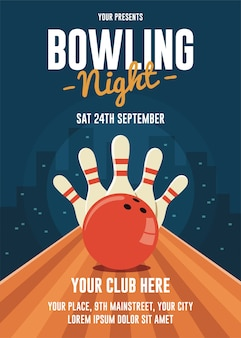 Bowling night flyer-sjabloon