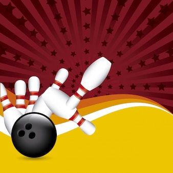 Bowling ontwerp over grunge achtergrond vectorillustratie