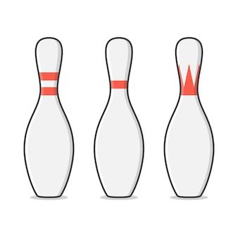 Bowling pin illustratie. bowling pinnen sport plat