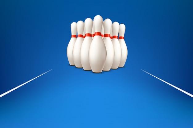 Bowling pinnen op blauw