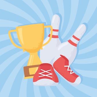 Bowling pinnen schoenen en trofee spel recreatieve sport platte ontwerp vectorillustratie