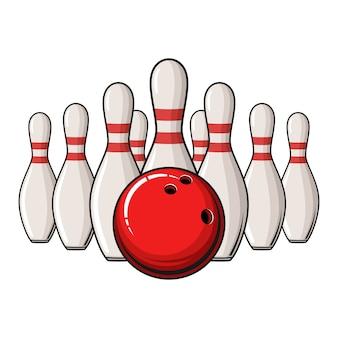 Bowling poster met bal en bowling pinnen