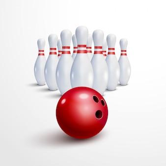 Bowling realistische afbeelding achtergrond. bowling spel recreatie concept