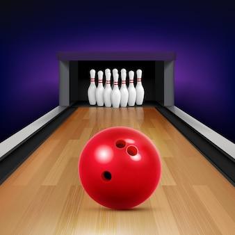 Bowling realistische compositie met rode bal staking en een heleboel pinnen illustratie