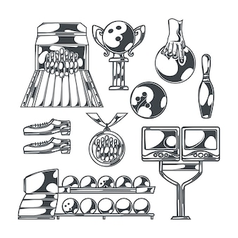 Bowling set met geïsoleerde zwart-wit afbeeldingen van baan met slagballen, schoenen pinnen en trofee cups
