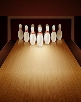 Bowling spel realistische illustratie