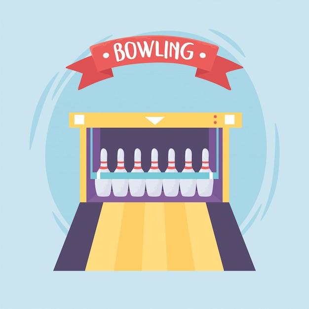 Bowling spel recreatieve sport alley pinnen platte ontwerp vectorillustratie