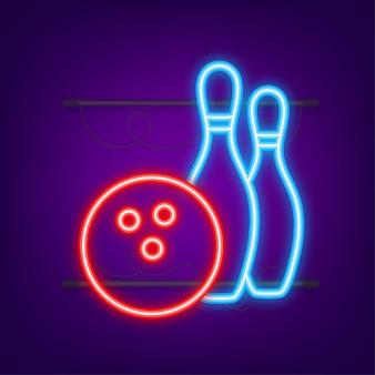 Bowling spel vrije tijd icoon. bowling bal. neon icoon. vector illustratie.
