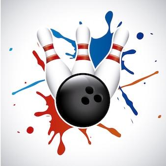 Bowling splash over grijze achtergrond vectorillustratie