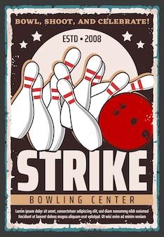 Bowling sport spel bal en pinnen