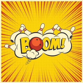 Bowling staking, gele popart bowling illustratie op een vintage achtergrond.