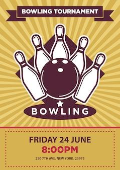 Bowling toernooi of wedstrijd vector poster sjabloon