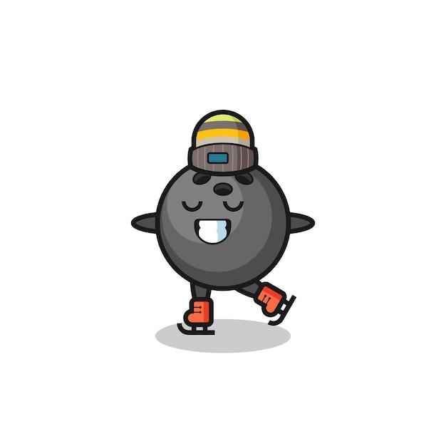 Bowlingbal cartoon als een schaatser die presteert, schattig stijlontwerp voor t-shirt, sticker, logo-element