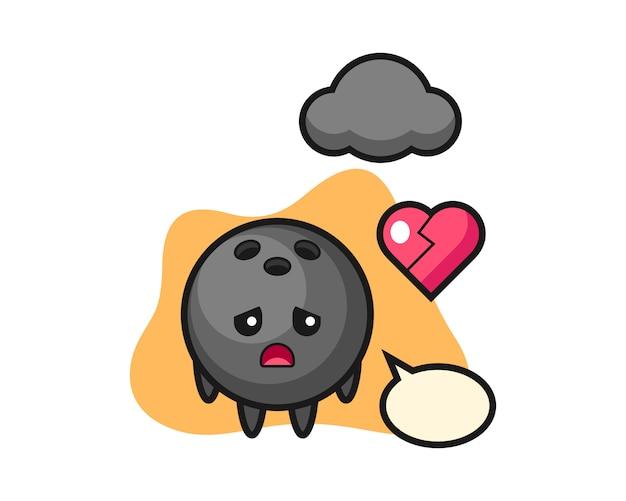 Bowlingbal cartoon is gebroken hart