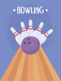 Bowlingbal crashen in de kegels platte ontwerp vectorillustratie
