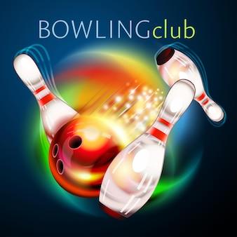 Bowlingbal die over regenboog vliegt