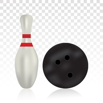 Bowlingbal en bowling pin-pictogram voor apps en websites op een transparante achtergrond