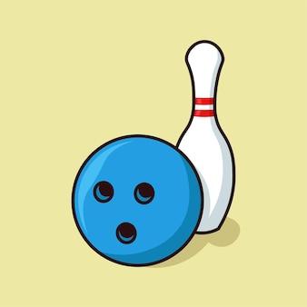 Bowlingbal en pin cartoon vectorillustratie