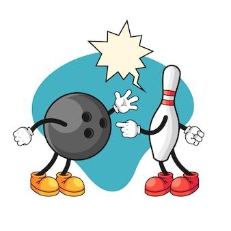 Bowlingbal en pin die argument doen