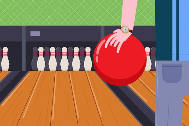 Bowlingbal in de hand van een man op game club vector cartoon afbeelding.