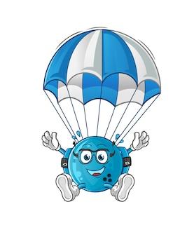Bowlingbal parachutespringen karakter. cartoon mascotte