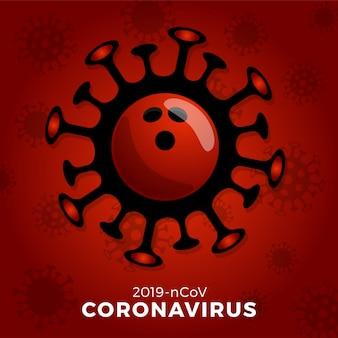 Bowlingbal teken voorzichtig coronavirus. stop de covid-19-uitbraak. coronavirusgevaar en risico voor de volksgezondheid ziekte en griepuitbraak. annulering van sportevenementen en wedstrijden concept