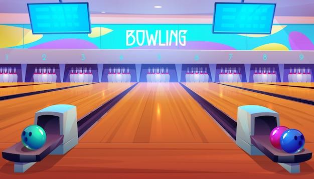 Bowlingbanen met ballen, spelden en scoreborden.