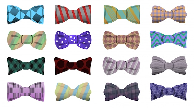 Bowtie pictogramserie. beeldverhaalreeks bowtie vectorpictogrammen voor webontwerp