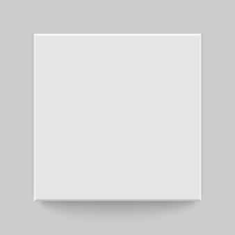 Box bovenaanzicht met schaduw. bespreek model 3d. realistische witte blanco