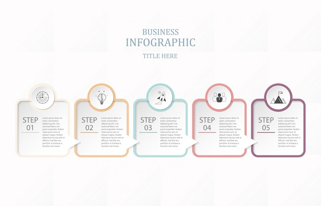 Box paper infographic five-proces