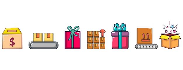 Box pictogramserie. beeldverhaalreeks doos vectorpictogrammen geplaatst geïsoleerd
