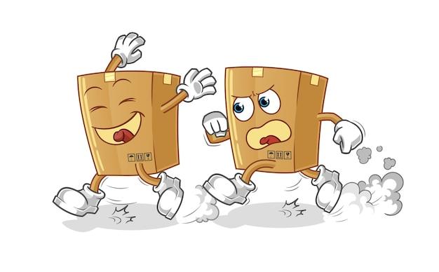 Box play chase cartoon geïsoleerd op wit