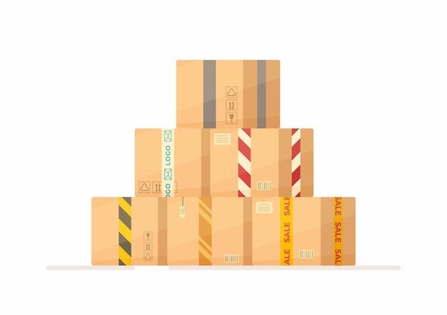 Box warehouse illustratie van winkelen via internet online winkelen postbezorging