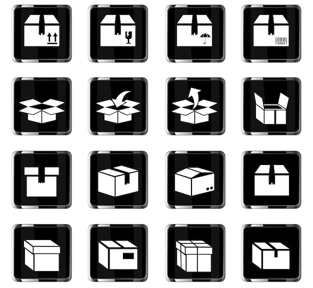 Box-webpictogrammen voor ontwerp van gebruikersinterface