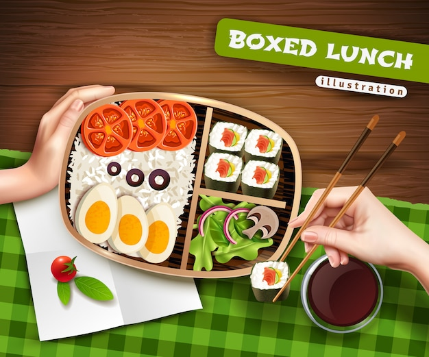 Boxed lunch illustratie