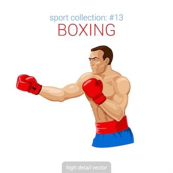 Boxer man handschoenen kick boksen strijd illustratie.