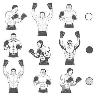 Boxer poseert. voorkant, zijaanzicht in verschillende versies, met en zonder schaduwen. een aantal monochrome tekeningen.