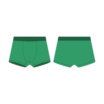 Boxershort in groene kleur technische schets. boxers onderbroek