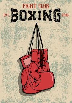 Boxing club embleem. twee bokshandschoenen in grungestijl.